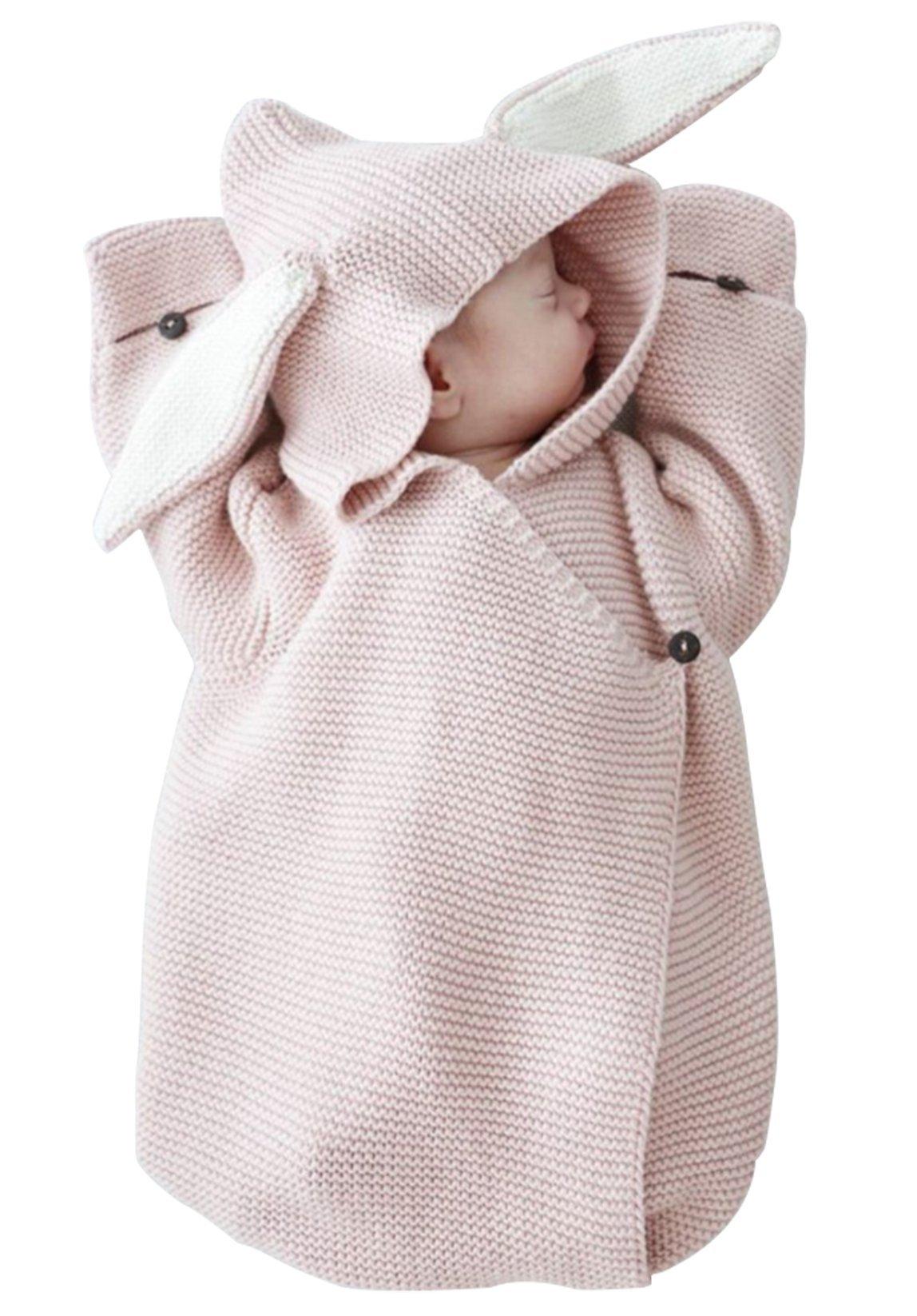 Newborn Boys Girls Cartoon Rabbit Ear Wool Knit Sweater Sleeper Bag Baby Hooded Warm Sleepsack Blanket (0-12Months, Pink)