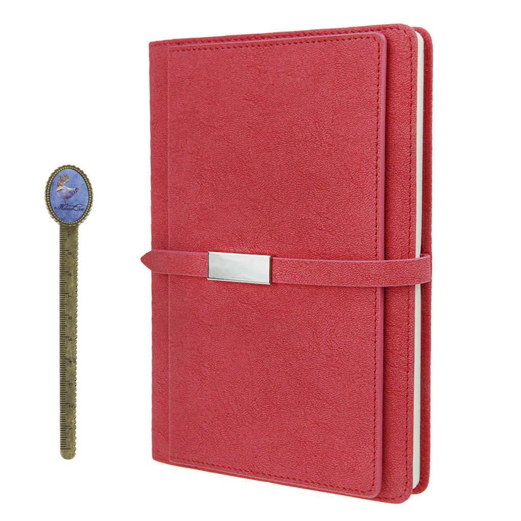 PU Leather Portfolio Notebook A5 Travel Journals to Write in,100 Sheets Lined Notebook with Calendar,Card Slot,Pocket,Address Book Page,School Office Stationery Gift
