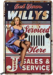 Swono Get Your Willys Tin Signs,Pin Up Girl Serviced Here Vintage Metal Tin Sign for Men Women,Wall Decor for Bars,Restaurants,Cafes Pubs,12x8 Inch