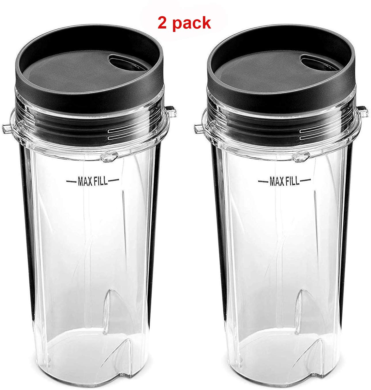 Replacement Part for Nutri Ninja Blender,16 oz Cup with 2 Sip&Seal for BL770 BL780 BL660 All Pro 4 Tab Blenders (Pack of 2)