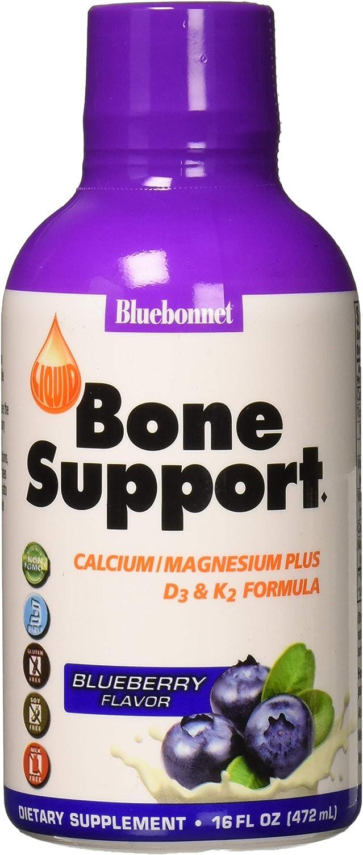 Bluebonnet Nutrition Liquid Bone Support Calcium Citrate, Magnesium Citrate, Vitamin D3, K2, for Bone Health, Non GMO, Gluten Free, Soy free, milk free, kosher, 16 Fl Oz, 32 Servings, Blueberry Flavor