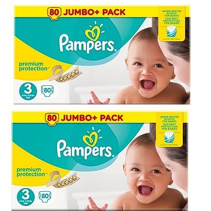 Pañales Tamaño 3 Pampers Premium Jumbo valor 2 paquetes 80=160