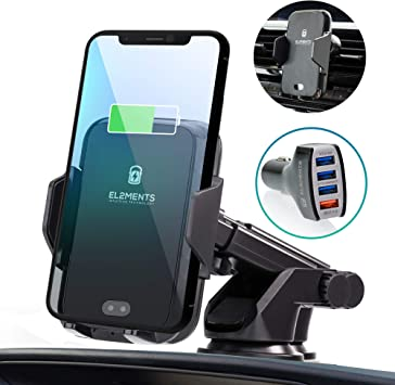 QI Fast Car Wireless Charging Mount Head Up Display Mobile Phone Bracket Navigation Compatible with iPhone Wireless Car Charger Samsun Huawei etc.