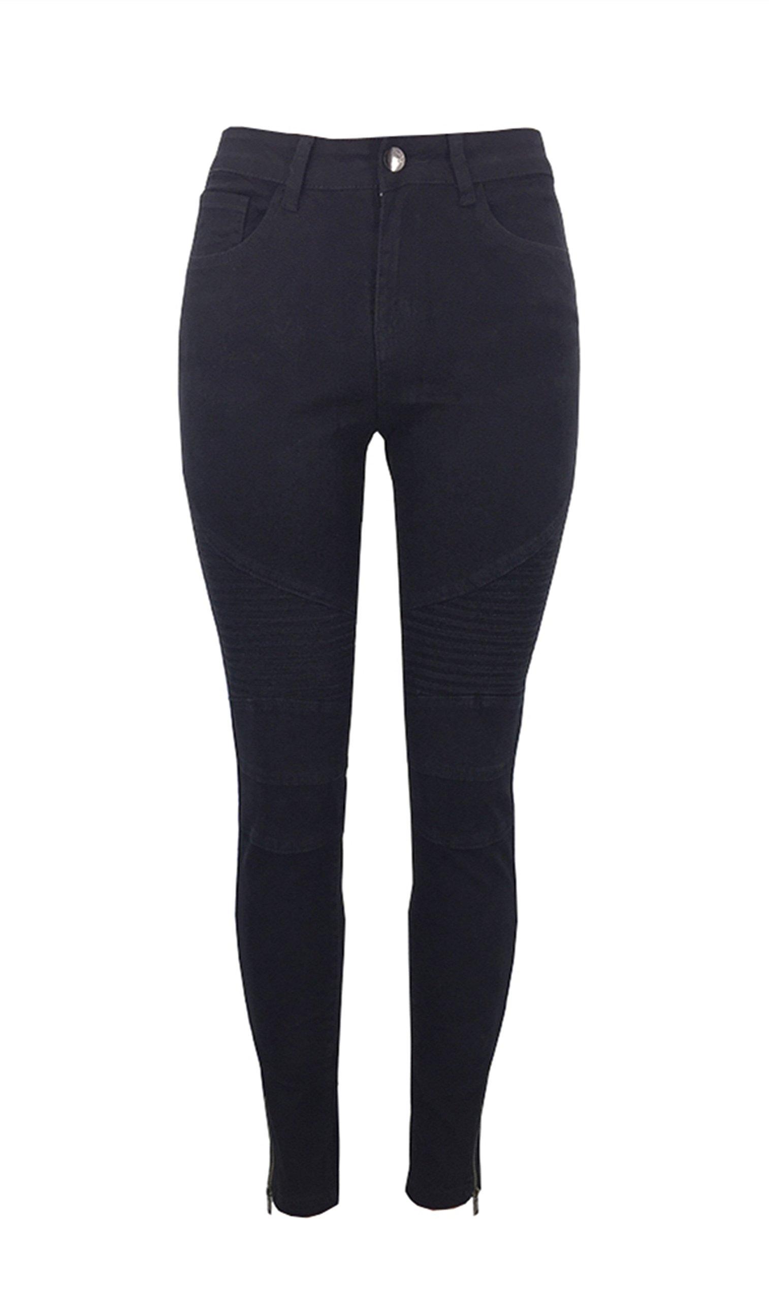 Women Casual Butt Lift Stretch Jegging Skinny Biker Jeans Denim Moto Pants Green