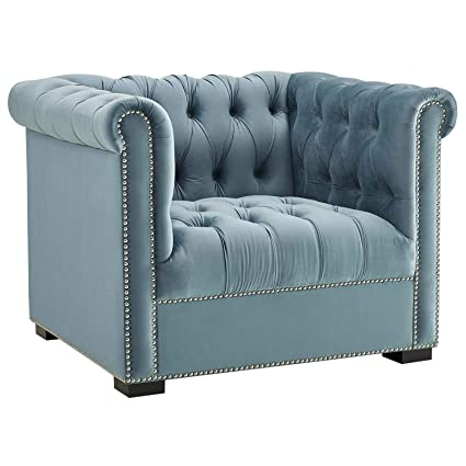 Fine Modway Heritage Tufted Velvet Modern Chesterfield Lounge Accent Arm Chair With Nailhead Trim In Sea Blue Machost Co Dining Chair Design Ideas Machostcouk