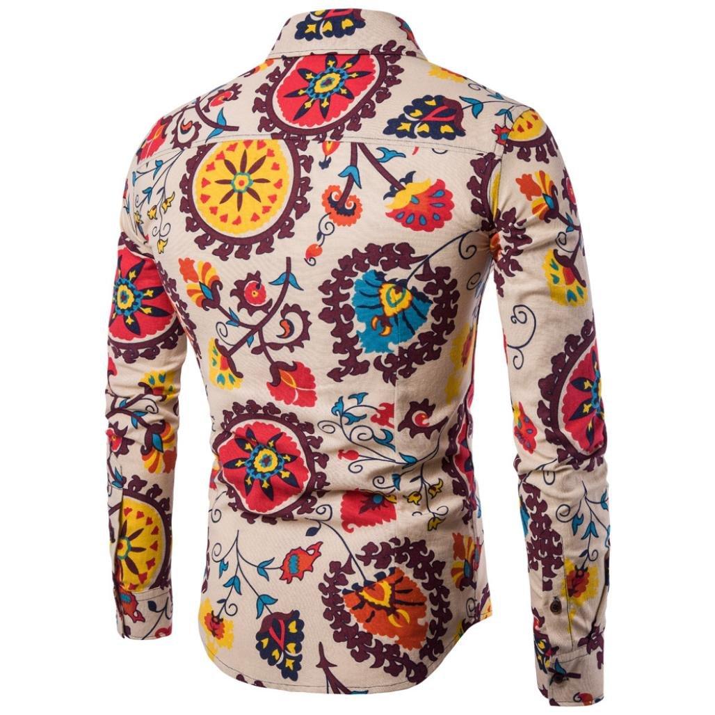 Camiseta para Hombre Casual Manga Larga Negocio Ajustado Impresión Retro Negocio Botón Formal Blusa Tops Camisa de Hombre LMMVP: Amazon.es: Ropa y ...
