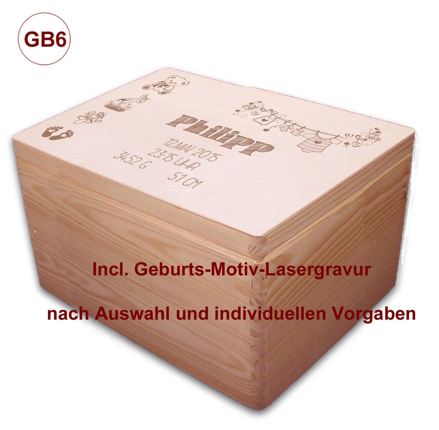Auswahl-Lasergravur Kiefer incl GB6 MidaCreativ zur Geburt 3 gro/ße Holz-Geschenkbox Gr