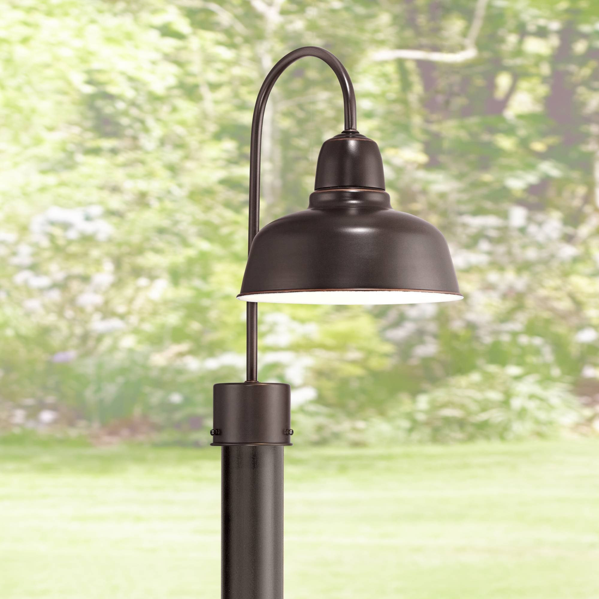 Urban Barn Industrial Outdoor Post Light Fixture Oil Rubbed Bronze 15 3/4'' for Exterior Garden Yard Patio Pathway - John Timberland