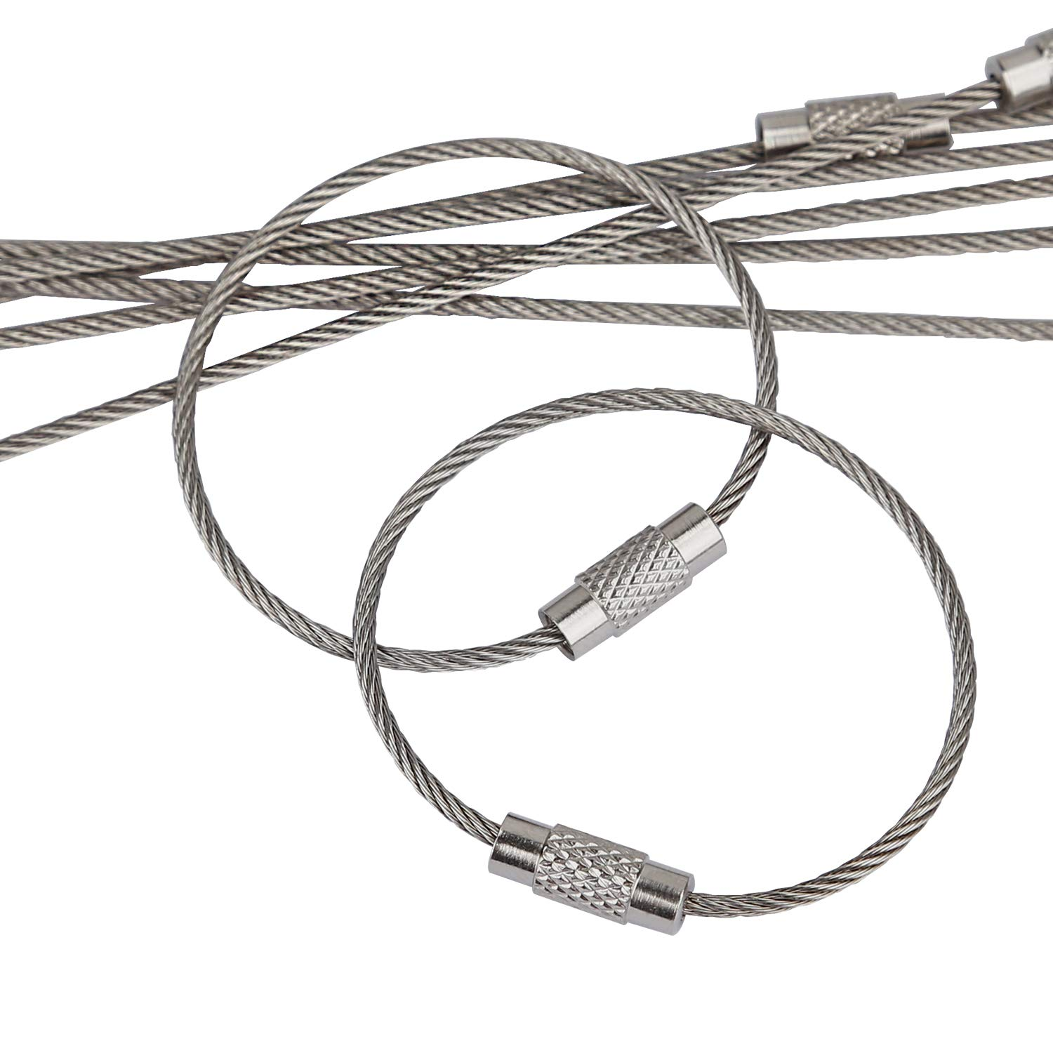 Amazon.com   Pawfly 20 pcs Wire Keychain Cable 4 Inch Stainless Steel Key  Ring Loop for Outdoor Hiking   Office Products 2469c354a