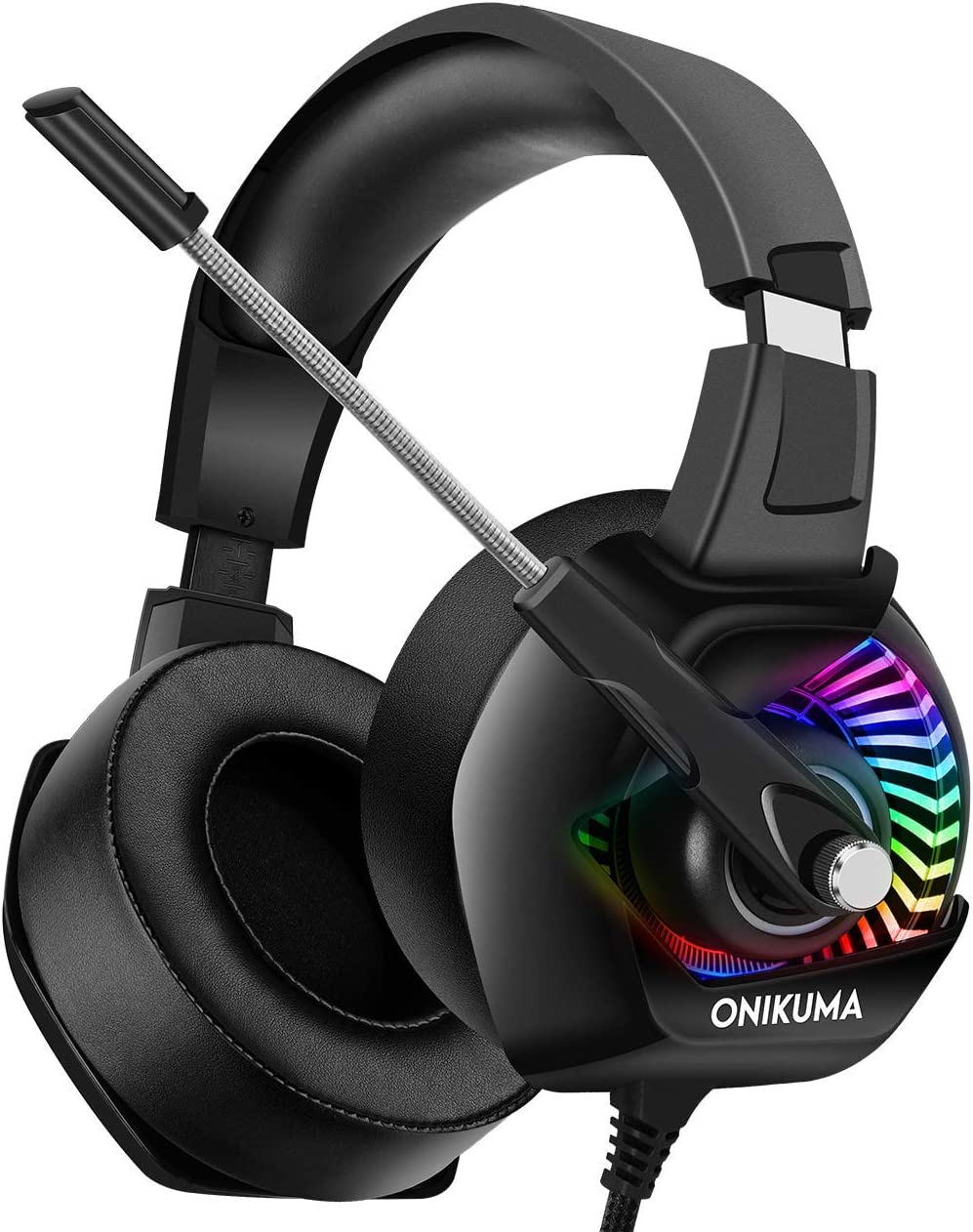 Gaming Headphones – ONIKUMA PS4 Gaming Headset with Mic, 7.1 Surround Sound RGB LED Light, Noise Canceling Earpads, Soft Memory Earmuff for PS4, Xbox One, PC, Mac, Laptop, Nintendo Switch