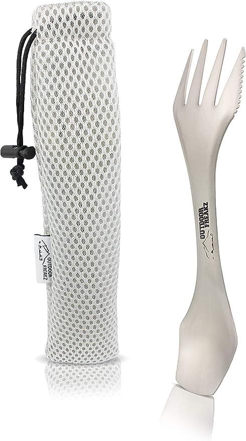 Outdoor Freakz Titan Spork y cuchara como cubiertos de camping y de viaje, la cuchara de tenedor perfecta para aficionados al aire libre