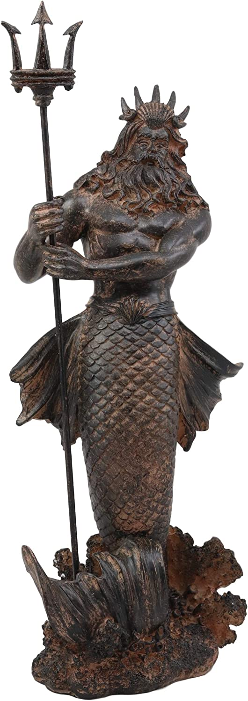 Ebros Greek Mythology God of The Seas and Tremors Merman Poseidon Statue Neptune Holding Trident Figurine Nautical Coastal Collection Roman Greco Olympian Gods Decor Sculpture