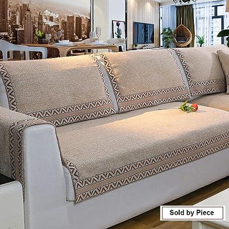 Z-one Funda para sofá Retro Decoración Cubre sofá Algodón Antideslizante Resistentes a Las Manchas Cojín Protector para En Parama de l Sofá Seccional-Caqui 90x70cm(35x28inch): Amazon.es: Hogar