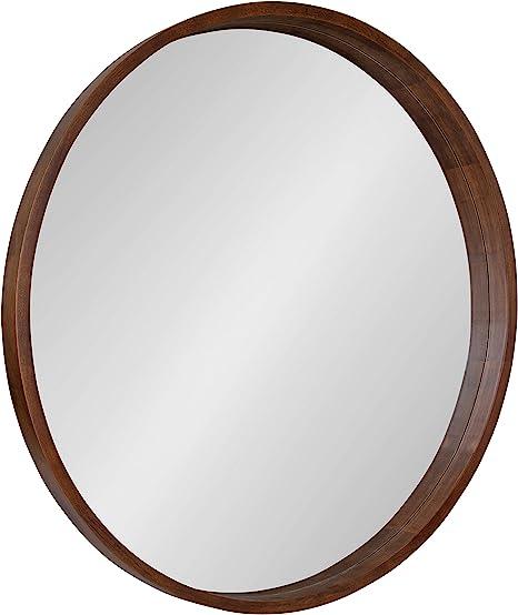 Amazon Com Kate And Laurel Hutton Round Wood Wall Mirror 36 Diameter Walnut Brown Geometric Modern Farmhouse Wall Decor Home Kitchen