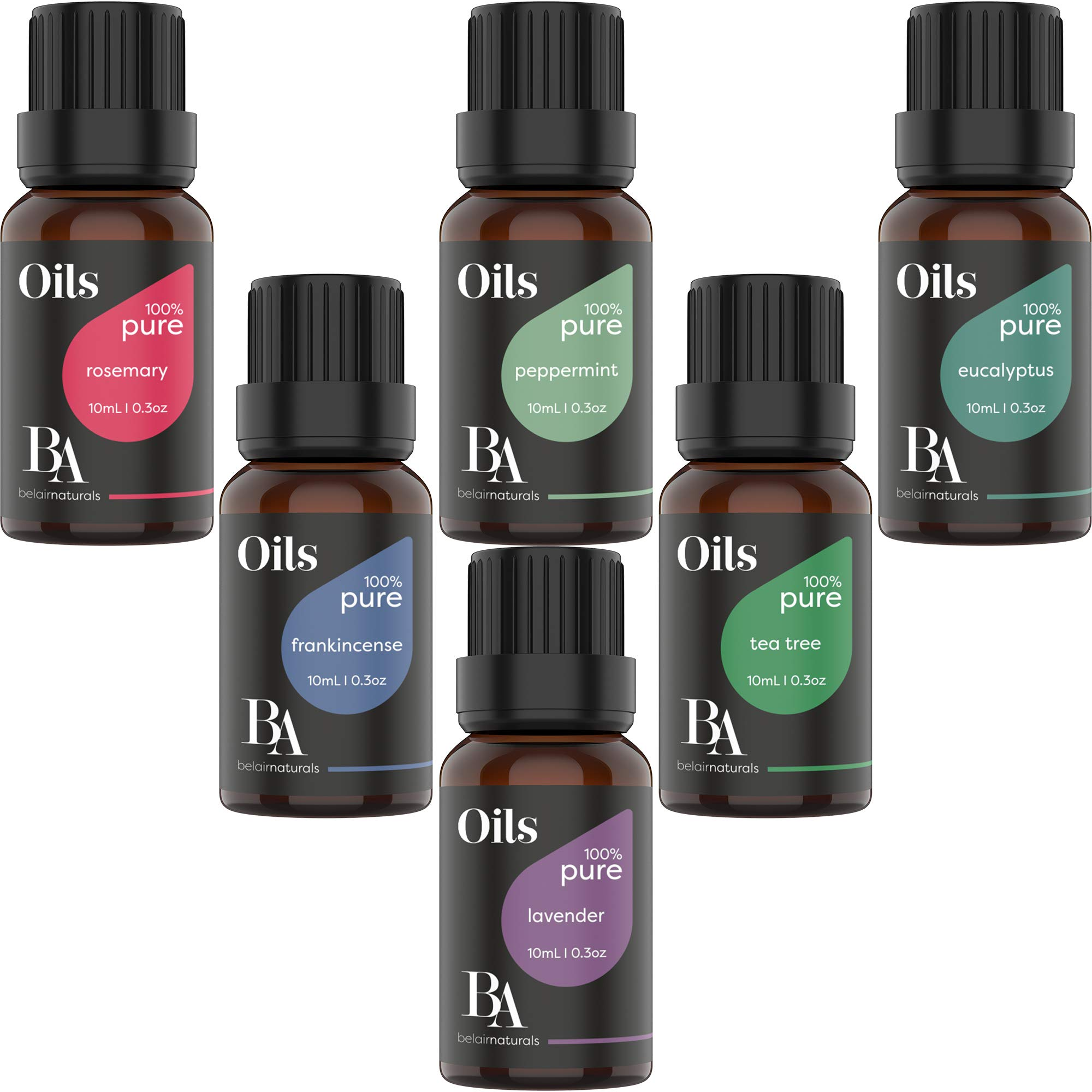 Bel Air Naturals Aromatherapy Top 6 Essential Oils Set – 100% Pure Therapeutic Grade – Peppermint/Tea Tree/Rosemary/Lavender/Eucalyptus/Frankincense – Best For Oil Diffuser, Massage