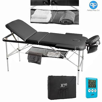 Lettino Da Massaggio 3 Zone Alluminio Portatile Reclinabile Timer E
