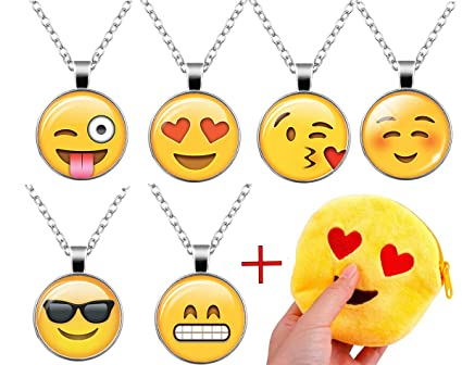 Amazon Com 6pcs Emoji Necklace Set Emoji Party Favors For Girls