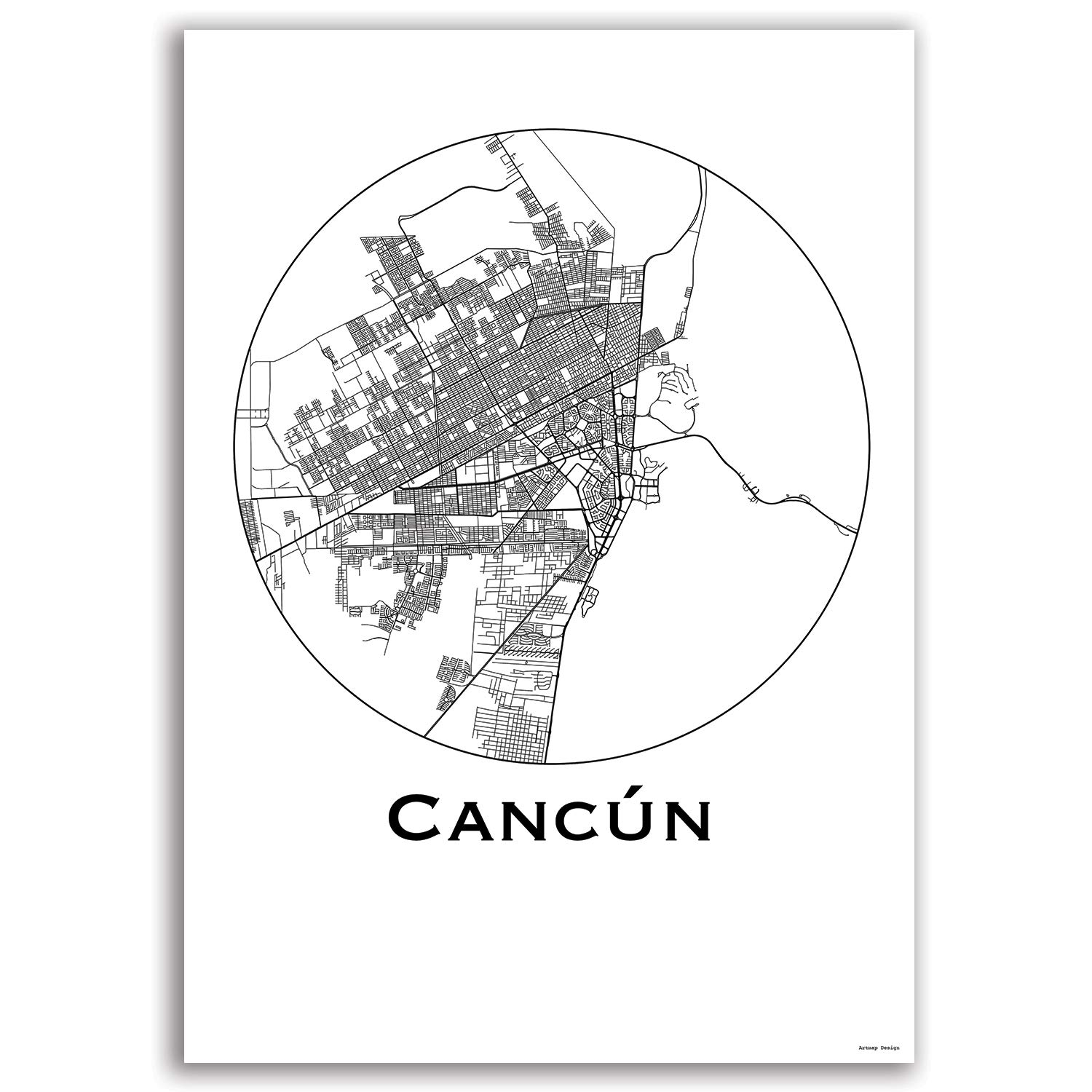 Cartel Cancun Mexico Minimalista Mapa - City Map, decoración ...