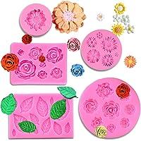 MUYULIN Moldes de silicona para fondant, diseño de flores de rosas (5 unidades)