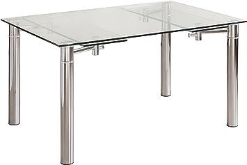 Mesa de Comedor CALVIA de Cristal Templado y Extensible 140x90 cm: Amazon.es: Hogar