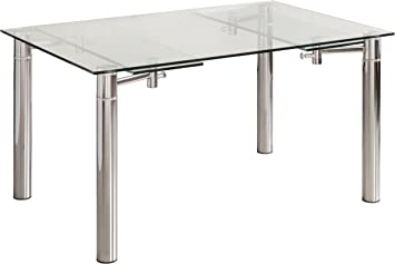 Mesa de Comedor CALVIA de Cristal Templado y Extensible 140x90 cm ...