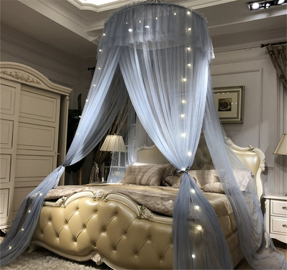 Lotus Karen Princess Bed Canopy Romantic Round Dome Double Ruffles Mosquito Net King Queen Full Twin Size Bed