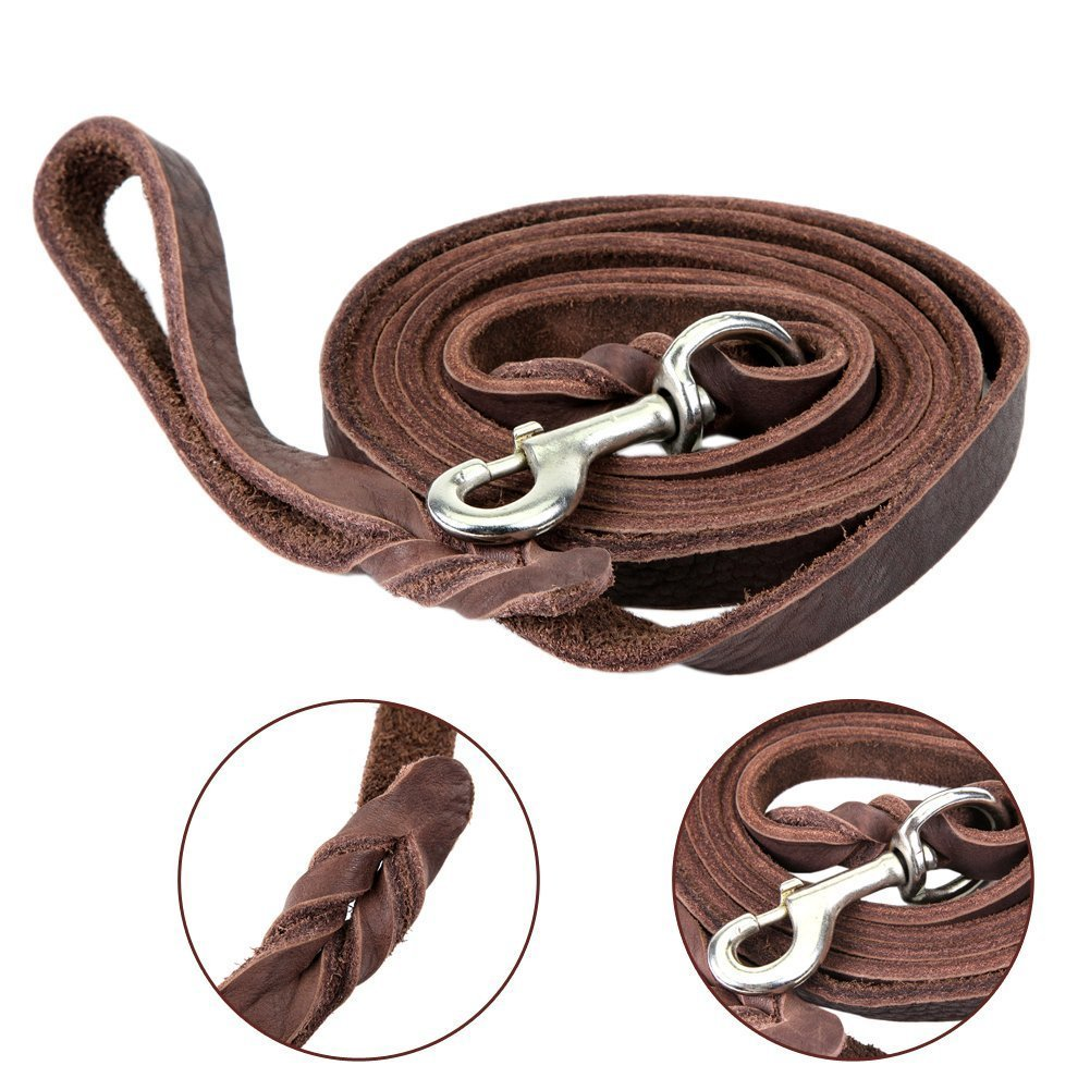 Dogs Kingdom Genuine Leather Braided Brown Dog Leash 4Ft/5Ft/7Ft/8.5Ft Best Lead For Large and Medium Dogs Training Walking Brown/Silver Hook 5/7''7ft by Dogs Kingdom (Image #3)