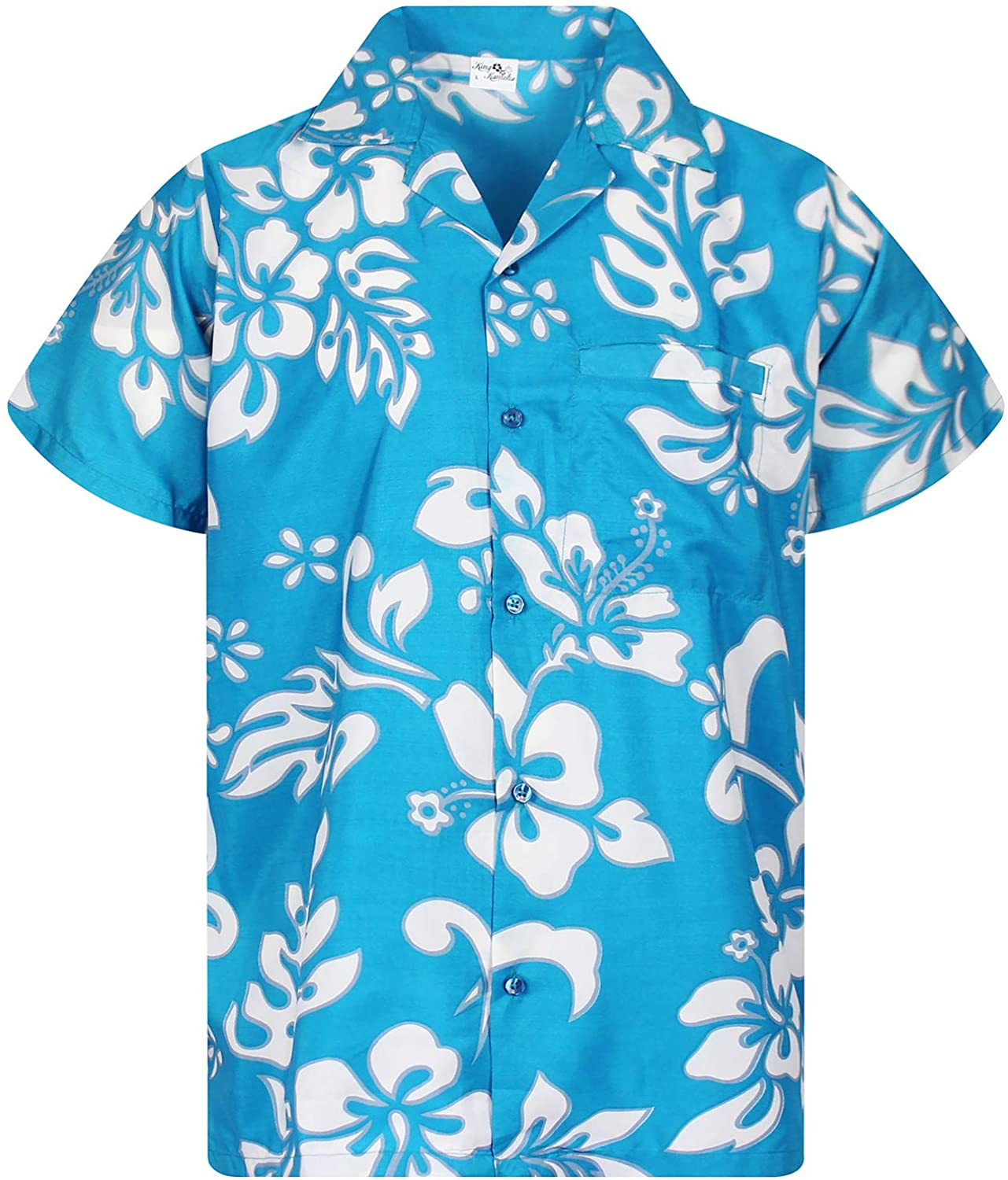 King Kameha Hawaiian Camicia per Uomo Funky Casual Button Down Very Loud Shortsleeve Hibiscus Unisex