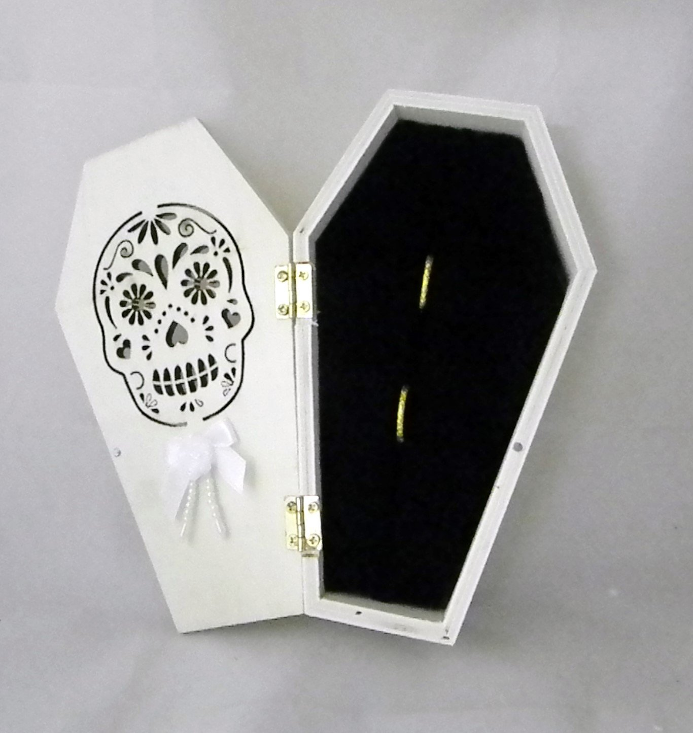 Wedding Ceremony Sugar Skull Gothic Coffin Tombstone ring bearer pillow Box by Custom Design Wedding Supplies by Suzanne