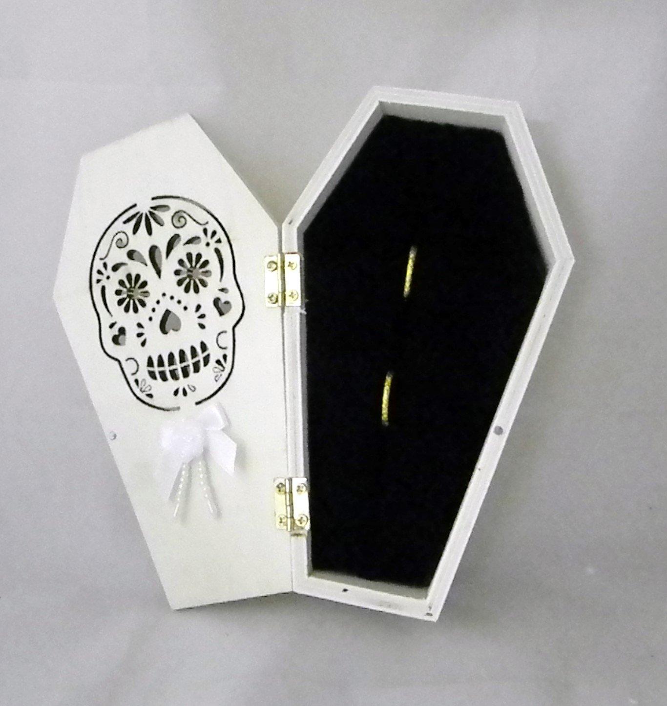Wedding Ceremony Sugar Skull Gothic Coffin Tombstone ring bearer pillow Box