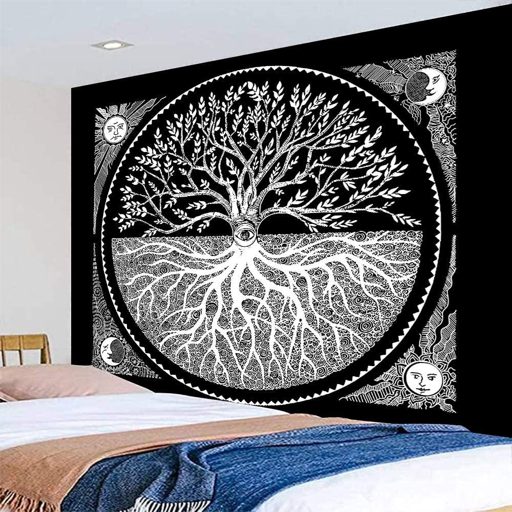 """Sun Moon Mandala Tree Tapestry Wall Hanging Large Boho Hippie Polyester Tapestries for Home Bedroom Decor(Tree,51.2"""" x 59.1"""")"""