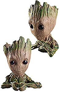 leegicst Groot Treeman Planter Flower-Pot - Guardians Galaxy Groot Tree Man Flower Pot or Pens Holder - Tiny Succulents Plants for Kids (Holding&Heart)