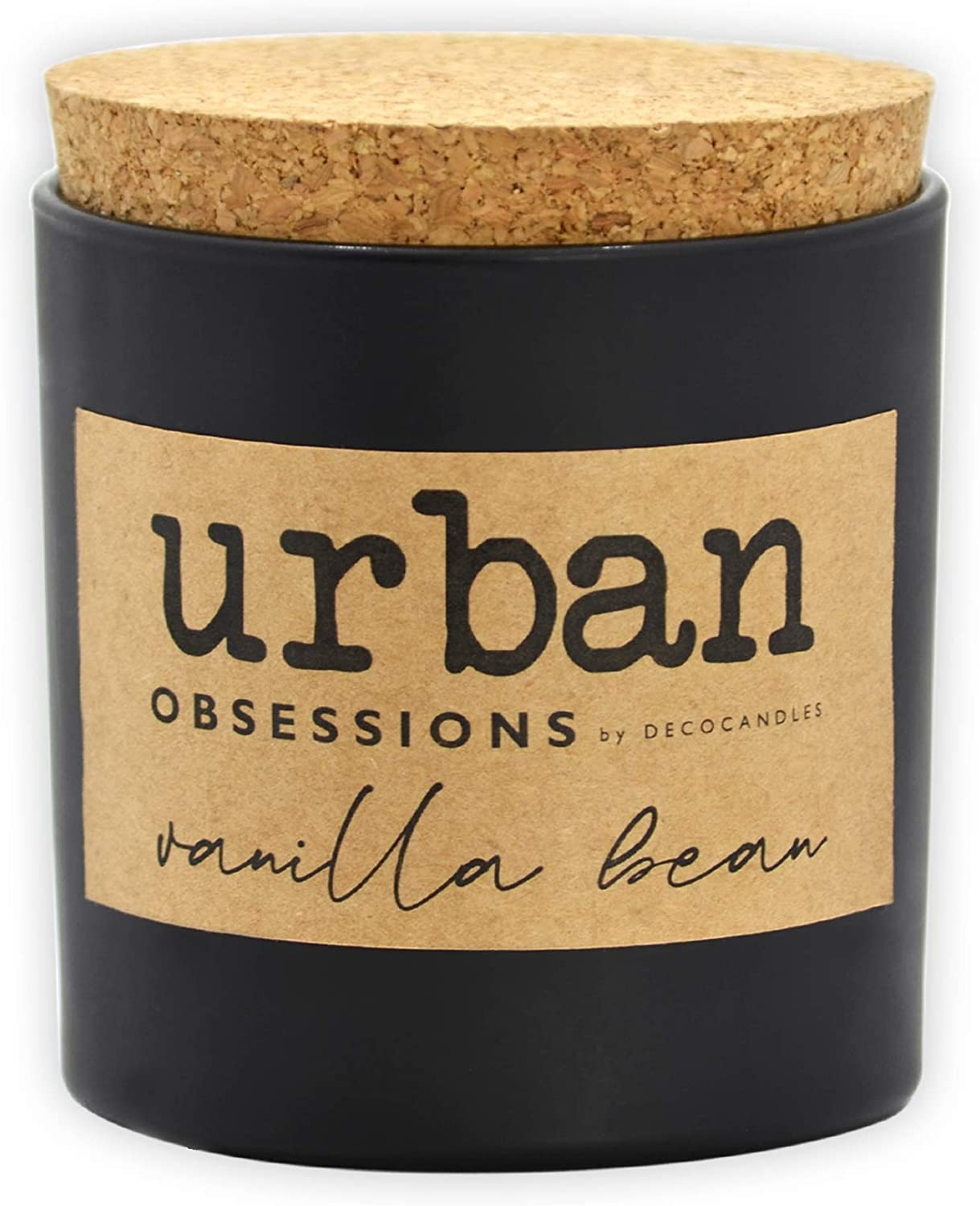 Urban Obsessions by DECOCANDLES | Vanilla Bean - Highly Scented Soy Candle - Long Lasting - Hand Poured in USA 6.7 Oz. w/Cork lid