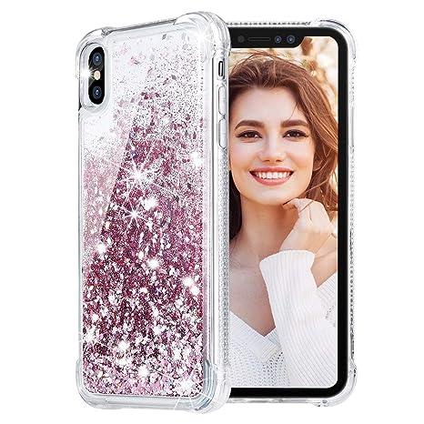coque iphone xs max paillette liquide gold