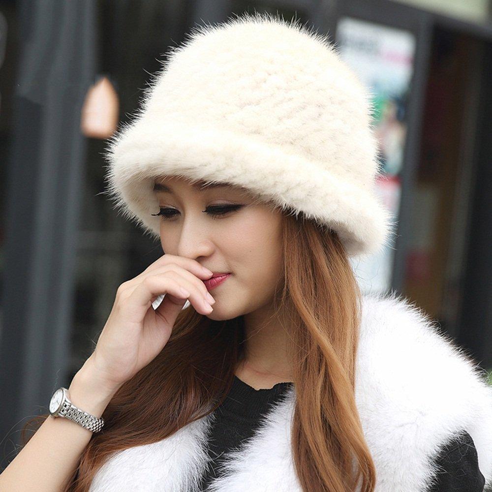 Schal Xiaolin- Winter Frau Hut Weberei Bowler Hut Gehörschutzkappe -Warmer Freien (Farbe   Beige)