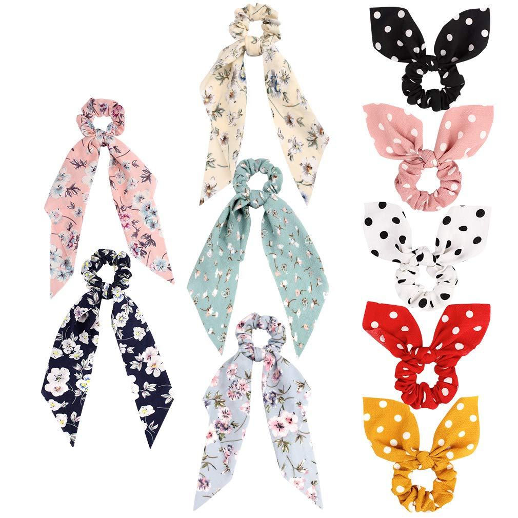 x4 pack bow hair scrunchie blue-pink-white-yellow