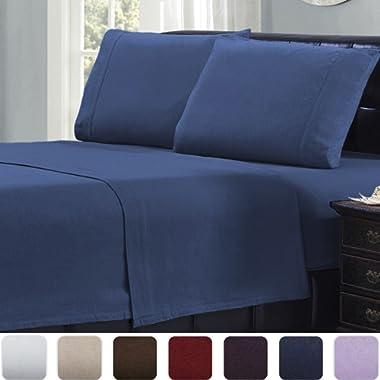 Mellanni 100% Cotton 4 Piece Flannel Sheets Set - Deep Pocket - Warm - Super Soft - Breathable Bedding (Queen, Blue)