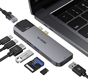 MacBook Pro USB Adapter, USB C Multiport Adapter Hub Mac Dongle for MacBook Pro/Air with 4K HDMI Port, Gigabit ethernet, 2 USB 3.0, TF/SD Card Reader, USB-C 100W PD and Thunderbolt 3