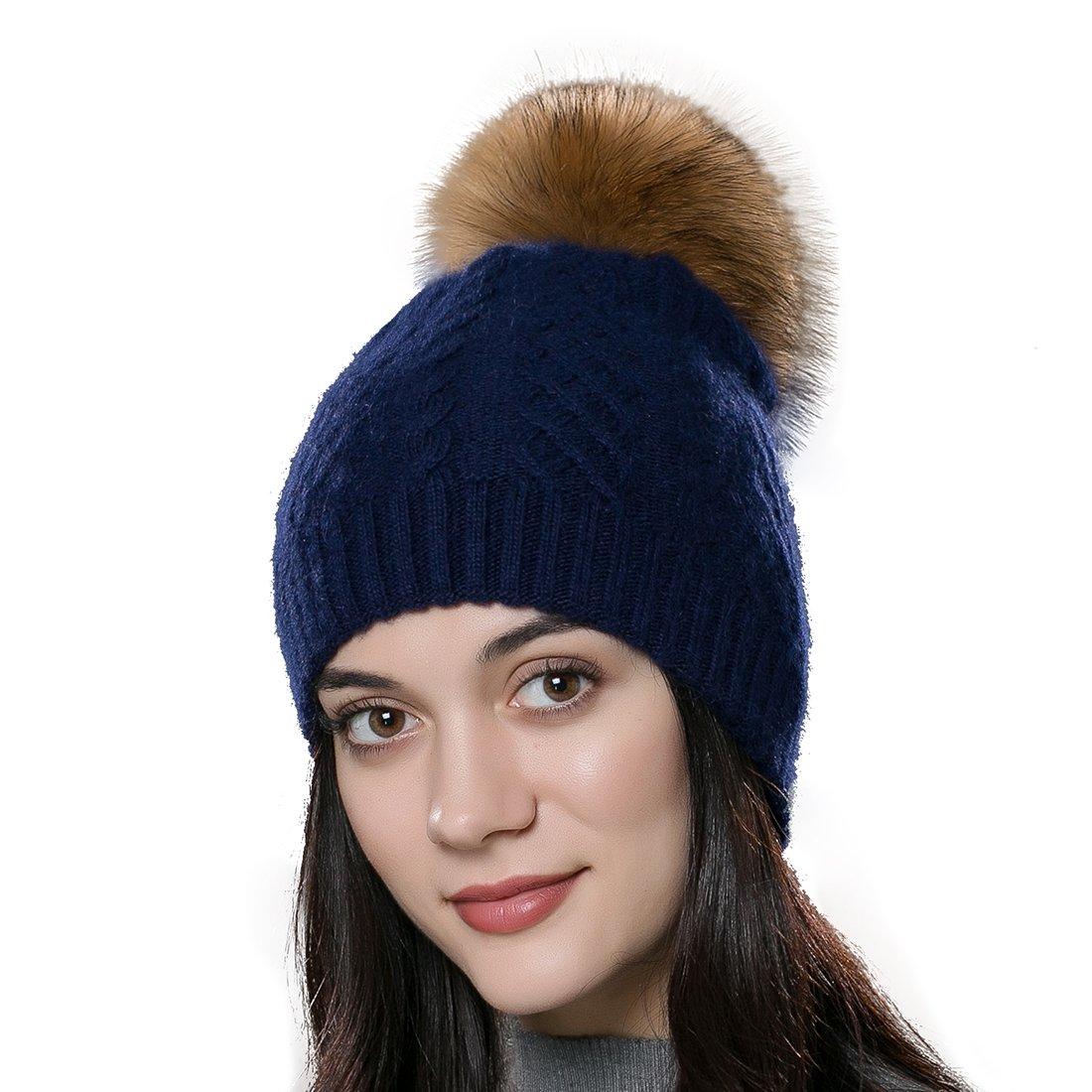 URSFUR Unisex gorra o pasamontaña de algodón con pompón de pelo zorro genuino otoño y invierno .Ltd. GCID-YQ-MX16001-Q-2