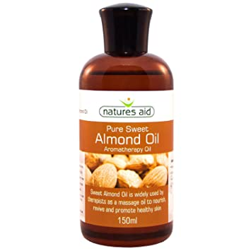 Natures Aid Almond Oil, 150 ml (100% Pure Sweet Almond Oil, Aromatherapy  Oil, Base Carrier, Vegan Society Approved, Made in the UK)