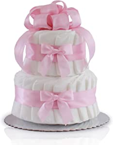 Classic Pastel Baby Shower Diaper Cake (2 Tier, Pink)