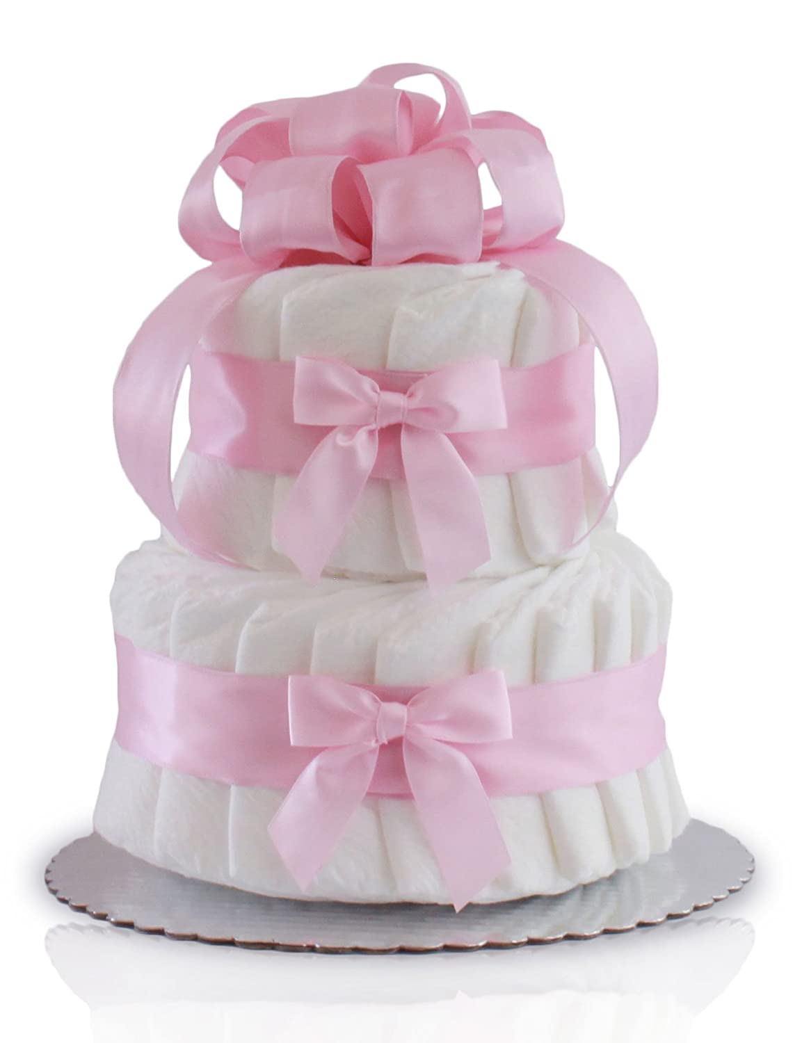 Classic Pastel Baby Shower Diaper Cake (2 Tier, Pink) Rubber Ducky