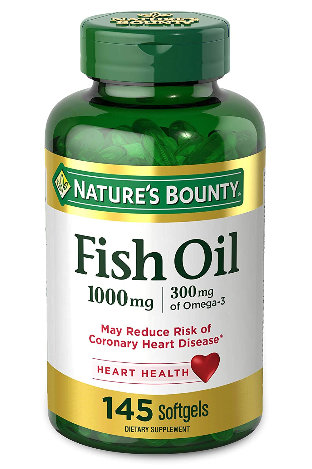 Nature's Bounty Fish Oil Omega-3 1000 mg Soft Gels, 145 Count