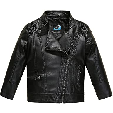 Amazon.com: Budermmy Boys Faux Leather Motorcycle Moto Biker ...