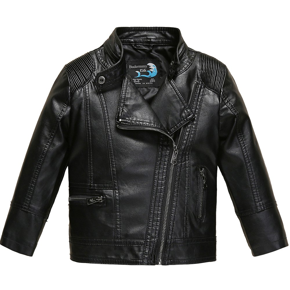 Budermmy Boys Faux Leather Motorcycle Moto Biker Jackets Zipper Coats Black Size 12 by Budermmy (Image #1)