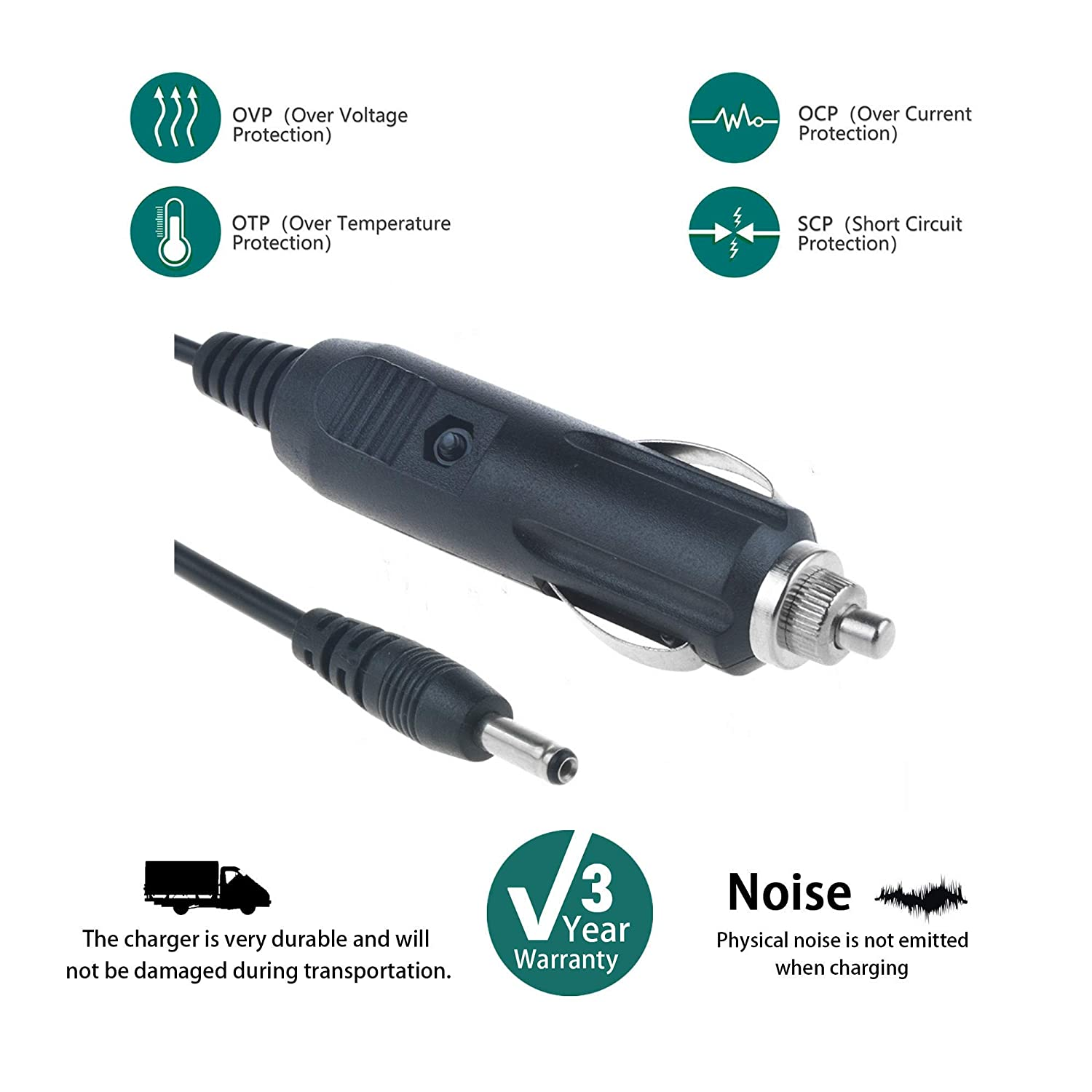 Speaker SLLEA DC Adapter Car Power Supply Charger Cord Compatible with  Echo DOT 3rd gen