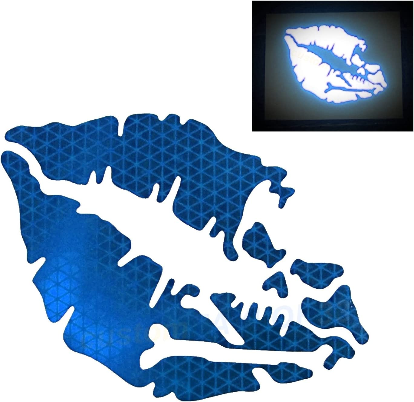 customTAYLOR33 High Intensity Reflective Vinyl Death Kiss Skull Crossbones Lips Decal Bumper Sticker - Cars, Motorcycles, Helmets, Wind Screens, laptops, cellphones, (Blue, 3 inch Wide, Pair)