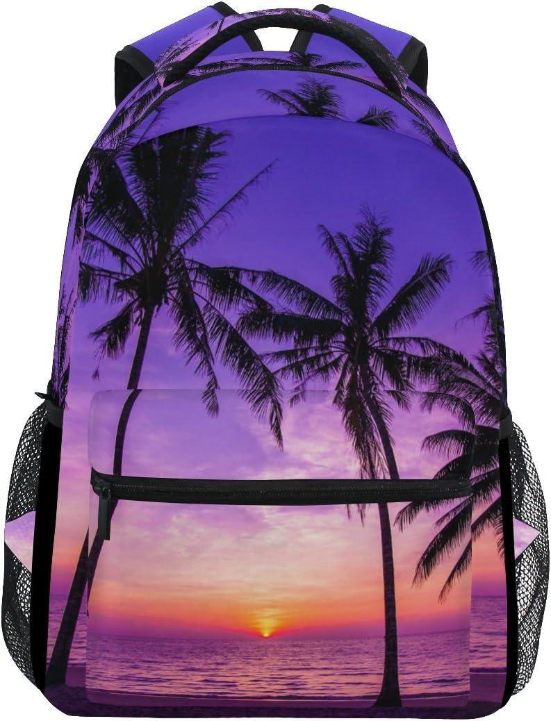 TropicalLife Hawaiian Palm Tree Ocean Theme Backpacks Bookbag Shoulder Backpack Hiking Travel Daypack Casual Bags