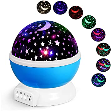 Star-Projector-Night-Light-for-Kids Bedroom Decor with Remote Control 360-Degree Rotating Projection Galaxy Lamp 15 Colors and 6 Film for Birthday Nursery Baby Christmas
