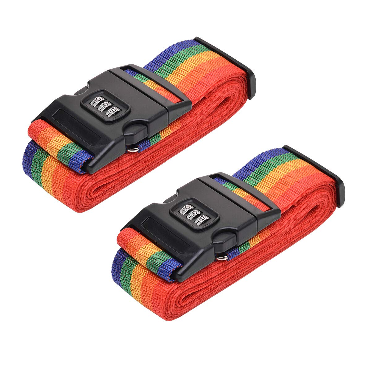 2 Pcs Luggage Straps Suitcase Belts Travel Accessories Adjustable Bag Straps with Combination Lock-Rainbow by WeTest